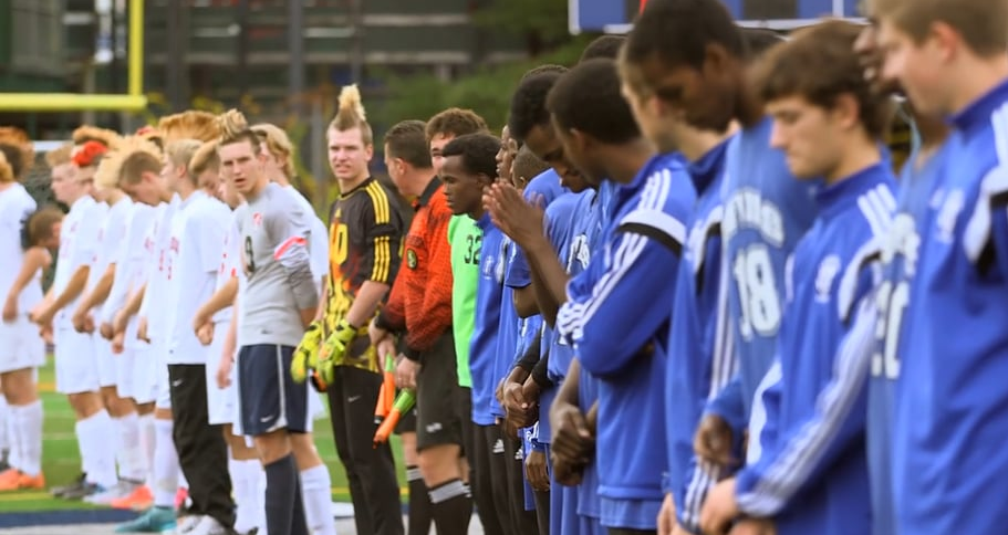 18 of the 25 players on the nationally ranked Lewiston Blue Devils are refugees.