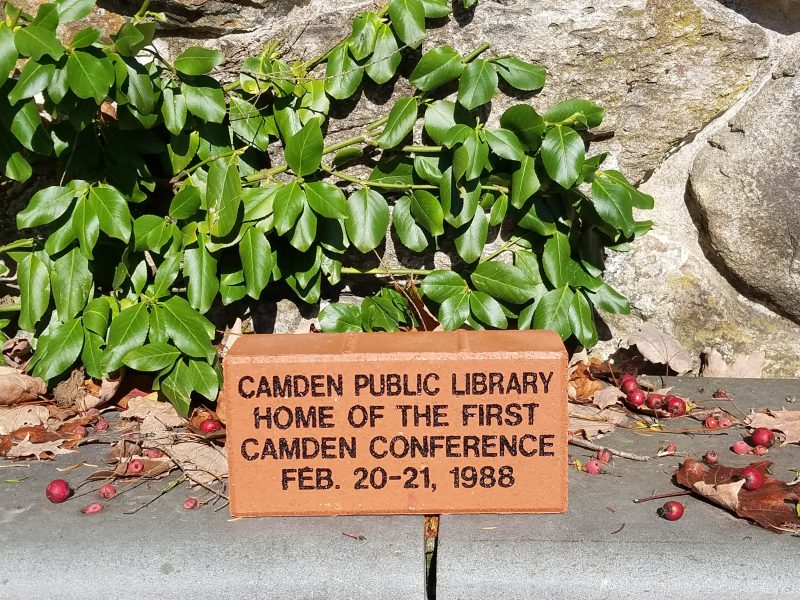 Camden Conference brick at Camden Public Library